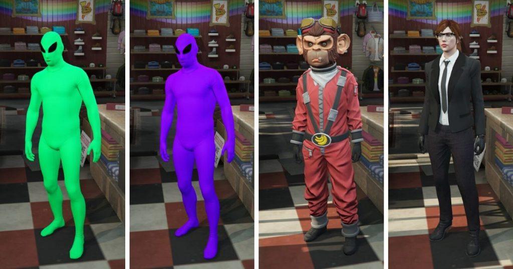 GTA Online alienek, majom és egy nő feketében