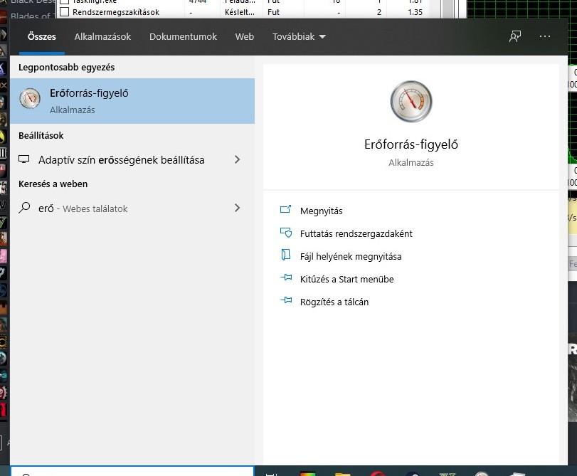 windows erőforrás-figyelő