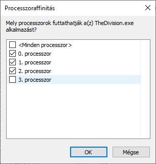 Windows 10 affinitás beállítása